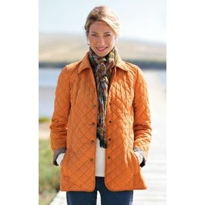 J. Jill Diamond Quilted Snap Front Jacket Coat
